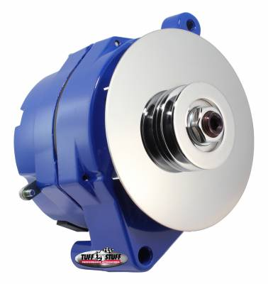 Alternators - 1-Wire - Tuff Stuff Performance - Alternator Smooth Back 1 Wire 100 AMPS 1 Grove Pulley Blue Powdercoat w/Chrome Accents 7068RFBLUE