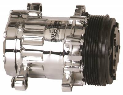 Hot Rod & Customs - Air Conditioning Compressors - Tuff Stuff Performance - Peanut Style SD7 A/C Compressor R134A Series 6 Groove Pulley Chrome 4517NA6G