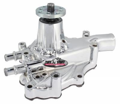 Water Pumps - Ford Small Block Water Pumps - Tuff Stuff Performance - Platinum SuperCool Water Pump 5.687 in. Hub Height 5/8 in. Pilot w/Driver Side Inlet Aluminum Casting Chrome 1467AA