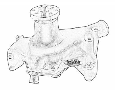 Water Pumps - Chevy Small Block - Long - Tuff Stuff Performance - Platinum SuperCool Water Pump 6.937 in. Hub Height 5/8 in. Pilot Long Aluminum Casting Red Powdercoat w/Chrome Accents 1511NCRED