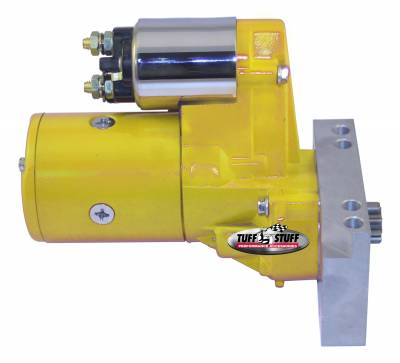 Starters - Chevy - Straight Mounting Holes - Tuff Stuff Performance - Gear Reduction Starter; 1.4 KW; 1.9 HP; w/Straight Mounting Block; 153 or 168 Tooth Flywheel; Yellow Powdercoat w/Chrome Accents; 6584BYELLOW