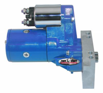 Starters - Chevy - Straight Mounting Holes - Tuff Stuff Performance - Gear Reduction Starter; 1.4 KW; 1.9 HP; w/Straight Mounting Block; 153 or 168 Tooth Flywheel; Blue Powdercoat w/Chrome Accents; 6584BBLUE