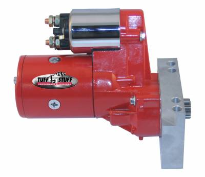 Starters - Chevy - Straight Mounting Holes - Tuff Stuff Performance - Gear Reduction Starter; 1.4 KW; 1.9 HP; w/Straight Mounting Block; 153 or 168 Tooth Flywheel; Red Powdercoat w/Chrome Accents; 6584BRED