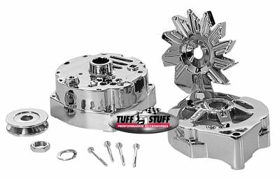 Tuff Stuff Performance - Alternator Case Kit; Fits GM 10SI And Tuff Stuff Alternator PN[7127]; Incl. Front And Rear Housings/Fan/Pulley/Nut/Lockwashers/Thru Bolts; Chrome Plated; 7500A