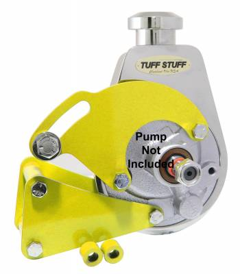Power Steering Pumps - Accessories - Tuff Stuff Performance - Power Steering Pump Bracket Long Fits Tuff Stuff Saginaw Style Power Steering Pumps Yellow Powdercoat w/Chrome Hardware 6507BYELLOW