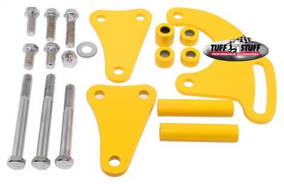 Tuff Stuff Performance - Power Steering Pump Bracket Long Fits Tuff Stuff Saginaw Style Power Steering Pumps Yellow Powdercoat w/Chrome Hardware 6508BYELLOW