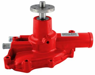 Water Pumps - Ford Small Block Water Pumps - Tuff Stuff Performance - Platinum SuperCool Water Pump 5.735 in. Hub Height 5/8 in. Pilot Reverse Rotation Red Powdercoat Driver Side Inlet 1594NCRED