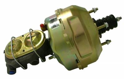 Braking - Power Brake Combos - Tuff Stuff Performance - Brake Booster w/Master Cylinder 9 in. 1 in. Bore Dual Diaphragm w/PN[2020] Dual Rsvr. Master Cyl. 10 x 1.5 Metric 3/8-24 Pedal Rod Threads Gold Zinc 2129NB-1