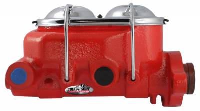 Braking - Master Cylinders - Universal - Tuff Stuff Performance - Brake Master Cylinder Univ. Dual Reservoir 1 1/8 in. Bore 9/16 in. And 1/2 in. Driver Side Ports Shallow Hole Fits Hot Rods/Customs/Muscle Cars Red Powdercoat 2071NCRED