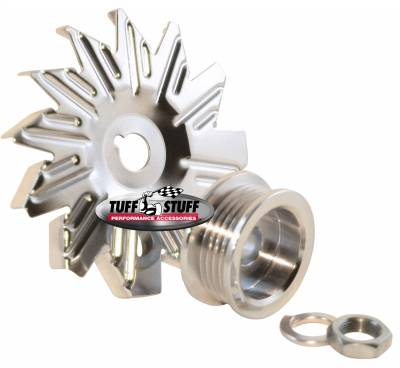 Alternators - Accessories - Tuff Stuff Performance - Alternator Fan And Pulley Combo 5 Groove Serpentine Pulley Incl. Fan/Lockwasher/Nut Chrome Plated 7600C