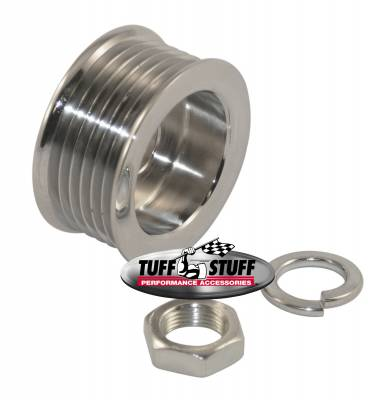 Alternators - Accessories - Tuff Stuff Performance - Alternator Pulley 2.25 in. 6 Groove Serpentine Incl. Lockwasher/Nut Chrome 7610A