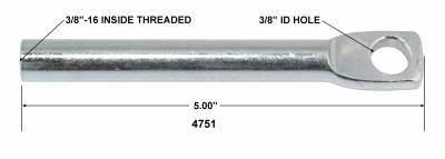 """Tuff Stuff Performance - Brake Booster Clevis 5.00 in. Rod Length 3/8 in.-16 Threads And 3/8"""" Hole For Boosters & Combos PN[2132/2232] Zinc Plated 4751 - Image 2"""