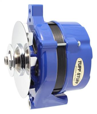 Alternator 70 AMP OEM Wire 1G Case V Groove Pulley Blue Powdercoat w/Chrome Accents 7078NHBLUE