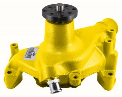SuperCool Water Pump 6.937 in. Hub Height 5/8 in. Pilot Long Threaded Water Port Yellow Powdercoat w/Chrome Accents 1449NCYELLOW