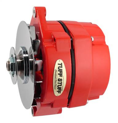 Alternator 100 AMP OEM Or 1 Wire V Groove Pulley Red Powdercoat w/Chrome Accents 7127NFRED