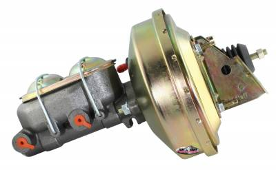 Brake Booster w/Master Cylinder 9 in. 1 1/8 in. Bore Single Diaphragm w/PN[2071[ Dual Rsvr. Master Cyl. Incl. 3/8 in.-16 Studs Gold Zinc 2126NB