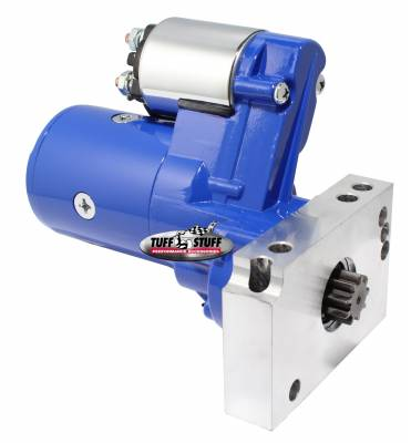 Gear Reduction Starter 1.4 KW 1.9 HP w/Straight Mounting Block 153 or 168 Tooth Flywheel Blue Powdercoat w/Chrome Accents 6584BBLUE