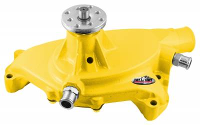 Platinum SuperCool Water Pump 5.750 in. Hub Height 5/8 in. Pilot Short (2) Threaded Water Ports Aluminum Casting Yellow Powdercoat w/Chrome Accents 1495ACYELLOW