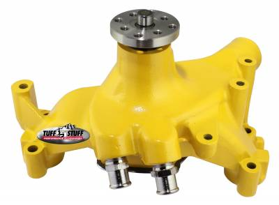SuperCool Water Pump 7.281 in. Hub Height 5/8 in. Pilot Long (2) Threaded Water Ports Yellow Powdercoat w/Chrome Accents 1461NCYELLOW