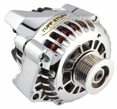 Alternator 125 AMP 1-Wire Or OEM Wire Hookup 6 Groove Pulley Double Wide Heavy Duty Ball Bearings OEM Replacement Chrome 8206NA