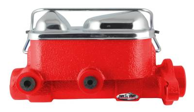 Brake Master Cylinder Dual Reservoir 1 in. Bore 3/8 in-24 And 1/2 in.-20 Ports 3 1/8 in. Mounting Hole Spacing Red Powdercoat w/Chrome Accents 2017NBRED