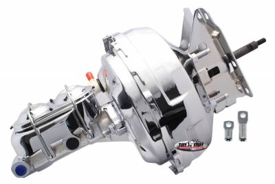 Brake Booster w/Master Cylinder 11 in. 1 1/8 in. Bore Dual Diaphragm w/PN[2071] Dual Rsvr. Master Cyl. 10x1.5 Metric Studs 3/8 in.-16 Pedal Rod Threads Chrome 2132NA