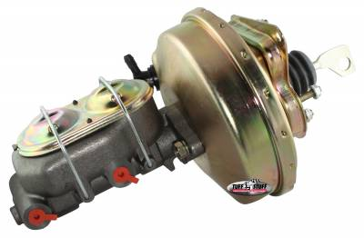 Brake Booster w/Master Cylinder 9 in. 1 1/8 in. Bore Single Diaphragm w/PN[2071] Dual Rsvr. Master Cyl. Incl. (5) 3/8 in.-16 Studs-1 Is Offset Gold Zinc 2125NB