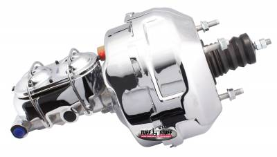 Brake Booster w/Master Cylinder 9 in. 1 in. Bore Dual Diaphragm w/PN{2018] Dual Rsvr. Master Cyl. 10 x 1.5 Metric 3/8-24 Pedal Rod Threads Chrome 2129NA-2