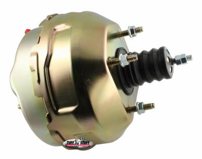 Power Brake Booster 9 in. Dual Diaphragm Rod Length 4.12 in. Incl. 3/8 in.-16 Mtg. Studs And Nuts Fits Hot Rods/Customs/Muscle Cars Gold Zinc 2229NB