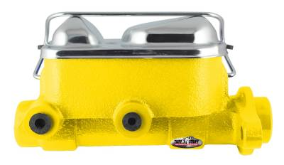 Brake Master Cylinder Dual Reservoir 1 in. Bore 3/8 in-24 And 1/2 in.-20 Ports 3 1/8 in. Mounting Hole Spacing Yellow Powdercoat w/Chrome Accents 2017NBYELLOW