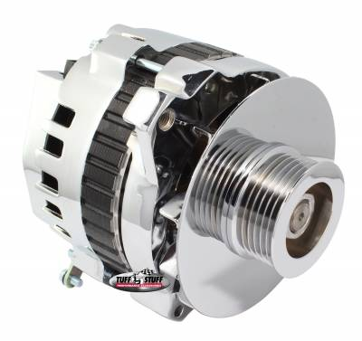 Alternator 105 AMP 1 Wire Or OEM 6 Groove Pulley 6.125 in. Bolt To Bolt Chrome 7866D6G