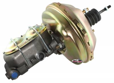 Brake Booster w/Master Cylinder 9 in. 1 in. Bore Single Diaphragm w/PN[2020] Dual Rsvr. Master Cyl. (3) M10-1.5 x 28MM Metric Studs Gold Zinc 2133NB-1