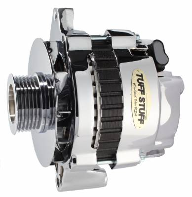 Tuff Stuff Performance - Alternator 105 AMP 1 Wire Or OEM 6 Groove Pulley Double Wide Heavy Duty Ball Bearings Polished 7935DP6G - Image 1