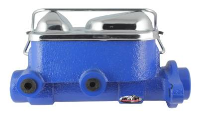 Brake Master Cylinder Dual Reservoir 1 in. Bore 3/8 in-24 And 1/2 in.-20 Ports 3 1/8 in. Mounting Hole Spacing Blue Powdercoat w/Chrome Accents 2017NBBLUE