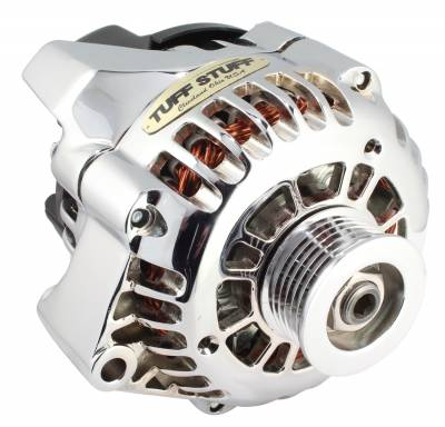 Alternator 125 AMP 1-Wire Or OEM Wire 6 Groove Pulley Heavy Duty Copper Coils OEM Replacement Chrome 8242NA