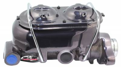 Brake Master Cylinder Universal Dual Reservoir 1 in. Bore 9/16 in. And 1/2 in. Driver Side Ports Deep Hole Fits Hot Rods/Customs/Muscle Cars Black Chrome 2019NA7