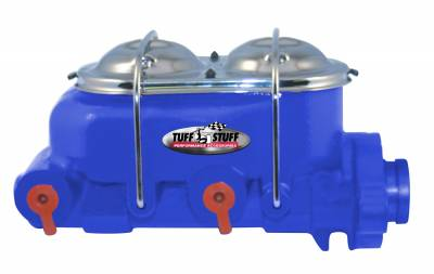 Brake Master Cylinder Dual Reservoir 1 in. Bore Dual 3/8 in. Ports On Both Sides 3 3/8 in. Mounting Hole Spacing Shallow Hole Blue Powdercoat 2020NCBLUE