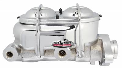 Brake Master Cylinder Univ. Dual Reservoir 1 1/8 in. Bore 9/16 in. And 1/2 in. Driver Side Ports Shallow Hole Fits Hot Rods/Customs/Muscle Cars Chrome 2071NA
