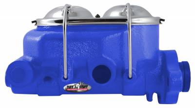 Brake Master Cylinder Univ. Dual Reservoir 1 1/8 in. Bore 9/16 in. And 1/2 in. Driver Side Ports Shallow Hole Fits Hot Rods/Customs/Muscle Cars Blue Powdercoat 2071NCBLUE