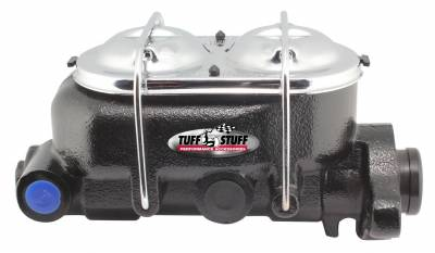 Brake Master Cylinder Univ. Dual Reservoir 1 1/8 in. Bore 9/16 in. And 1/2 in. Driver Side Ports Shallow Hole Fits Hot Rods/Customs/Muscle Cars Black Powdercoat 2071NC