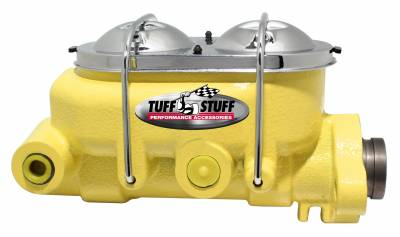 Brake Master Cylinder Univ. Dual Reservoir 1 1/8 in. Bore 9/16 in. And 1/2 in. Driver Side Ports Shallow Hole Fits Hot Rods/Customs/Muscle Cars Yellow Powdercoat 2071NCYELLOW
