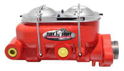 Brake Master Cylinder Univ. Dual Reservoir 1 1/8 in. Bore 9/16 in. And 1/2 in. Driver Side Ports Shallow Hole Fits Hot Rods/Customs/Muscle Cars Red Powdercoat 2071NCRED