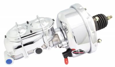 Brake Booster w/Master Cylinder Univ. 7 in 1 in. Bore Single Diaphragm w/PN[2018] Dual Rsvr. Master Cyl. Incl. 3/8 in.-16 Mtg. Stud/Hardware Chrome 2121NA-2