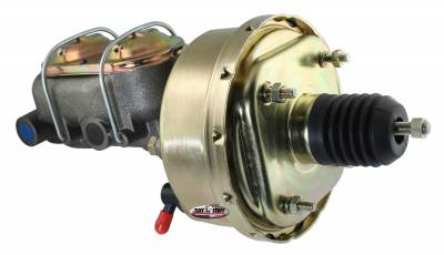Brake Booster w/Master Cylinder Univ. 7 in. 1 1/8 in. Bore Single Diaphragm w/PN[2071] Dual Rsvr. Master Cyl. Incl. 3/8 in.-16 Mtg. Studs/Hardware Gold Zinc 2121NB