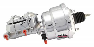 Brake Booster w/Master Cylinder Univ. 7 in. 1 1/8 in. Bore Dual Diaphragm w/PN[2071] Dual Rsvr. Master Cyl. Incl. 3/8 in.-16 Mtg. Studs/Hardware Chrome 2122NA