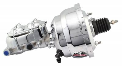 Brake Booster w/Master Cylinder Univ. 8 in. 1 1/8 in. Bore Dual Diaphragm w/PN[2071] Dual Rsvr. Master Cyl. Incl. 3/8 in.-16 Mtg. Studs/Hardware Chrome 2123NA