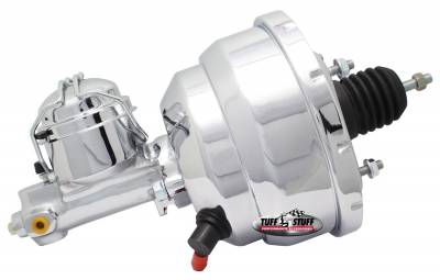 Brake Booster w/Master Cylinder Univ. 8 in. 1 in. Bore Dual Diaphragm w/PN[2150] Single Rsvr. Master Cyl. Incl. 3/8 in.-16 Mtg. Studs/Hardware Chrome 2123NA-4