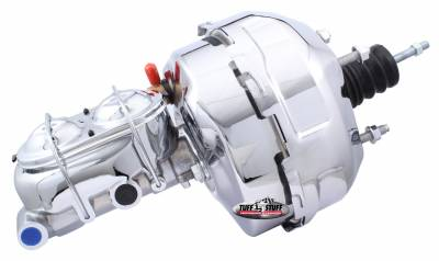 Brake Booster w/Master Cylinder Univ. 9 in. 1 in. Bore Dual Diaphragm w/PN[2018] Dual Rsvr. Master Cyl. Incl. 3/8 in.-16 Mtg. Studs/Hardware Chrome 2124NA-2