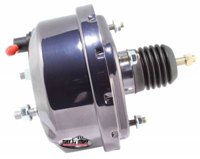 Power Brake Booster Universal 7 in. Single Diaphragm Incl. 3/8 in.-16 Mtg. Studs And Nuts Fits Hot Rods/Customs/Muscle Cars Black Chrome 2221NA7