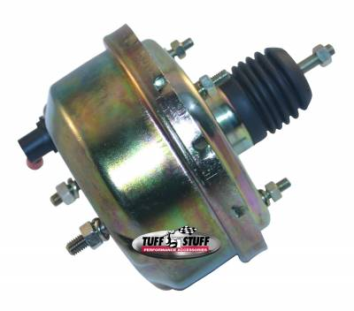 Power Brake Booster Univ. 7 in. Single Diaphragm Incl. 3/8 in.-16 Mtg. Studs And Nuts Fits Hot Rods/Customs/Muscle Cars Gold Zinc 2221NB